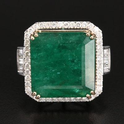 14K 35.72 CT Emerald and 1.51 Diamond Statement Ring