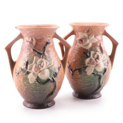 "Roseville Pottery ""Magnolia"" Earthenware Vases, Mid-20th Century"
