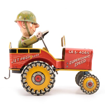 Unique Art Mfg. Co. G.I. Joe and his Jouncing Jeep Tin Litho Toy