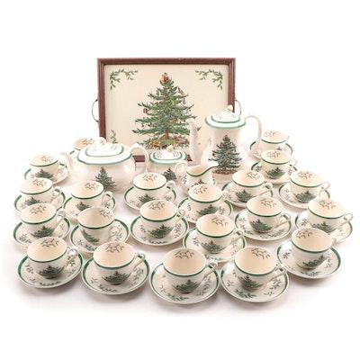 """Spode """"Christmas Tree"""" Porcelain Tea and Coffee Service"""