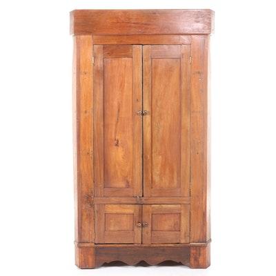 American Primitive Walnut and Cherrywood Corner Cupboard