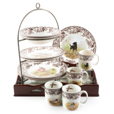"""Spode """"Woodland"""" Porcelain Dinnerware with Other Tray and Stand"""