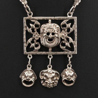 Sterling Openwork Mask Pendant Necklace