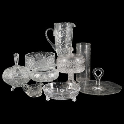 EAPG Block and Diamond Jelly Compote and Other Cut and Etched Glass Tableware