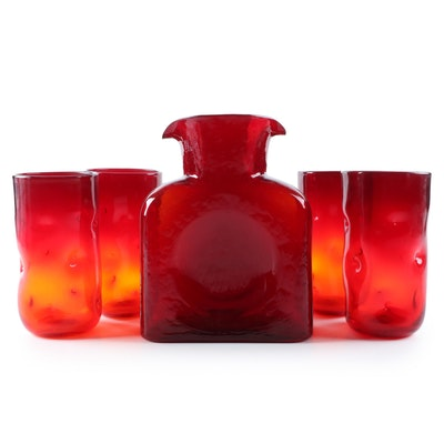 Blenko Ruby Glass Water Bottle and Tangerine Dimple Tumblers