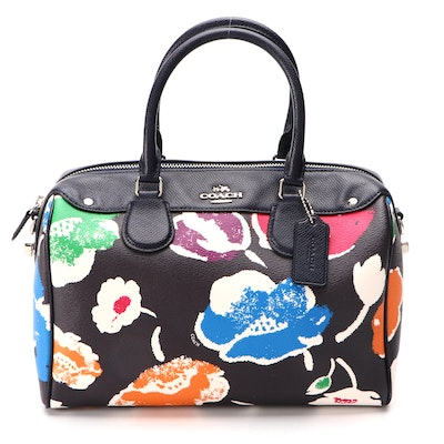 Coach Bennett Satchel in Wildflower Print Coated Canvas and Textured Leather