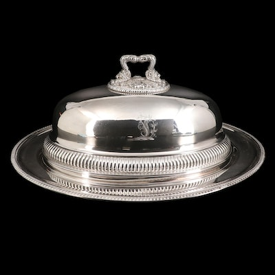Mappin & Webb Silver Plate Platter with Iranian Crest and Georgian Cloche