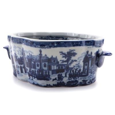 Flow Blue Style Ceramic Footbath Planter, Late 20th to 21st Century