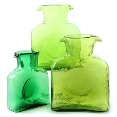 Blenko Handmade Green Glass Water Bottles and Mini Water Bottle