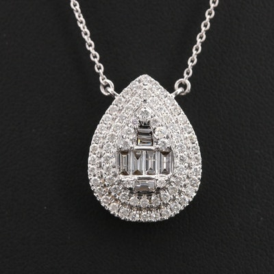 14K 1.02 CTW Diamond Teardrop Necklace
