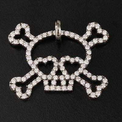 18K 1.50 CTW Diamond Skull and Crossbones Pendant