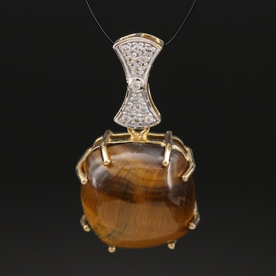 Sterling Tiger's Eye and Topz Pendant