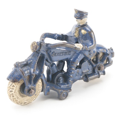 Champion Hardware Co. Cast Iron Policeman on Motorcycle, 1930s