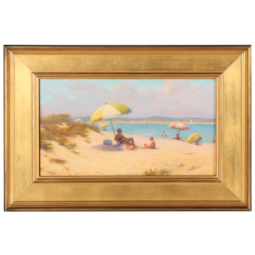 """Ernest G. Principato Oil Painting """"Summer at New Beach,"""" 1986"""
