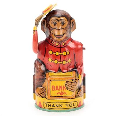 J. Chein & Co. Tin Lithograph Monkey Bank, 1930s