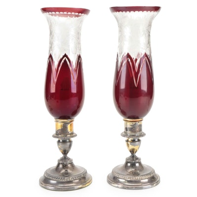 Silver Plate Lamps with Ruby Etched to Clear Glass Shades, Mid-20th Century