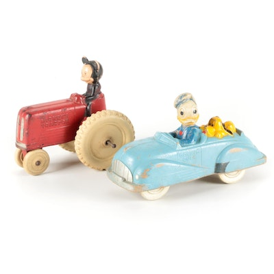 Sun Rubber Mfg. Walt Disney Mickey's Tractor and Donald Duck Rolling Toys