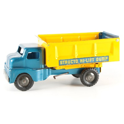 Structo Blue and Yellow Pressed Steel Hi-Lift Dump Truck, Mid-20th Century