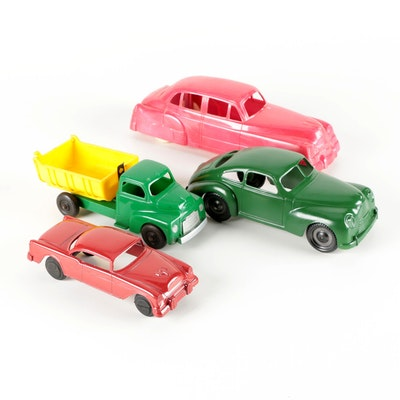 Lapin, Slik-Toys, and Hubley Kiddie Toy Plastic and Aluminum Cars and Dump Truck