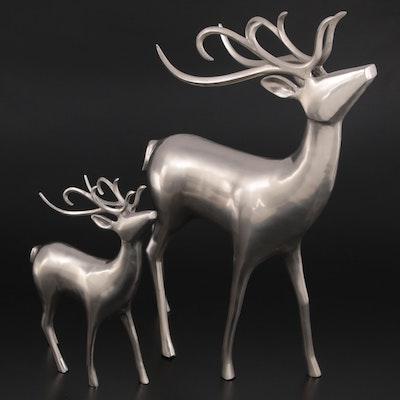 Brushed Silver Metal Reindeer Figurines