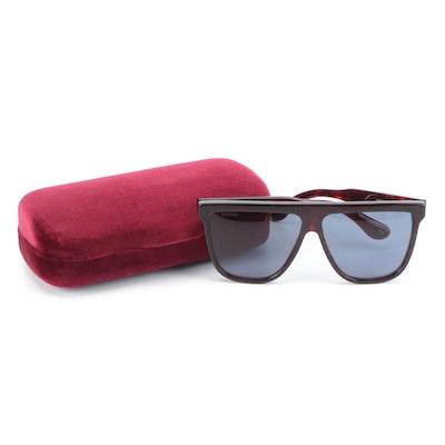 Gucci GG0582 Oversized Dark Havana Frame Blue Lens Sunglasses with Case