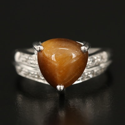 Sterling Tiger's Eye Ring with Topaz Shoulders