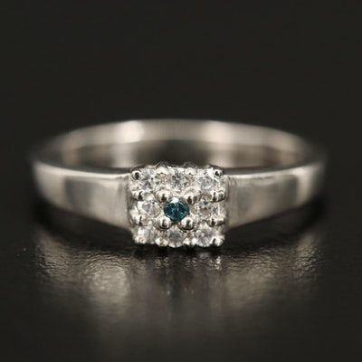 Sterling Diamond and Zircon Ring