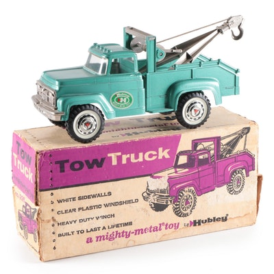 Hubley Pressed Steel Tow Truck Toy with Box, Mid-20th Century