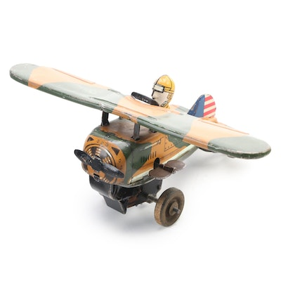 Louis Marx Wind-Up Rollover Military Airplane Toy, Early 20th Century
