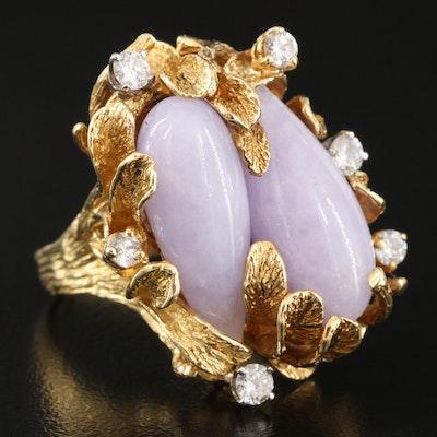 Vintage 18K Textured Foliate Jadeite and Diamond Ring