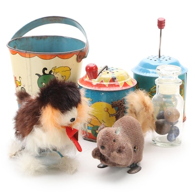 Wyandotte and Barone Music Boxes with Clay Marbles, Beach Pail and Wind-Up Toys