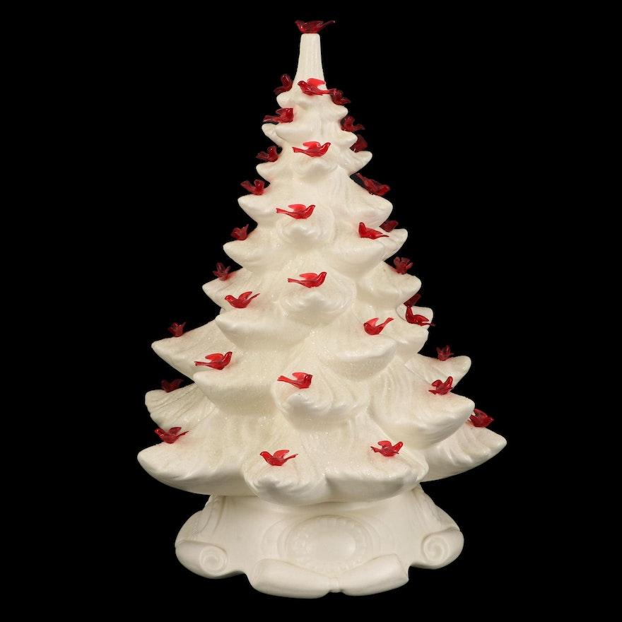 White Ceramic Illuminated Flocked Christmas Tree