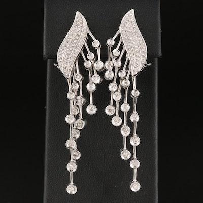 1.01 CTW Diamond Waterfall Earrings in 18K Gold