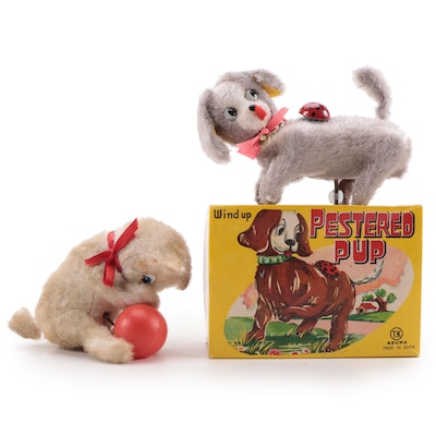 T.K Toys Pestered Pup and Kitten Wind-Up Toys, Mid-20th Century