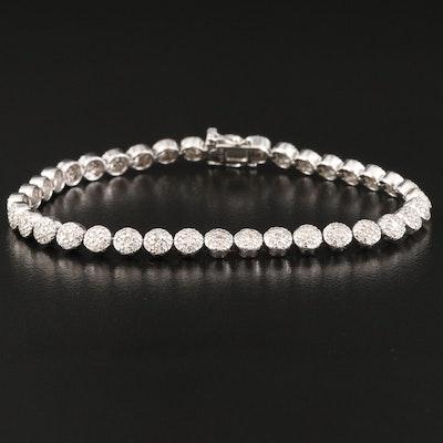 14K 2.59 CTW Diamond Cluster Line Bracelet