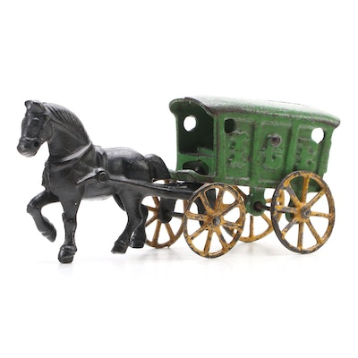 Hubley Cast Iron Horse and Ice Wagon Toy, Early 20th Century