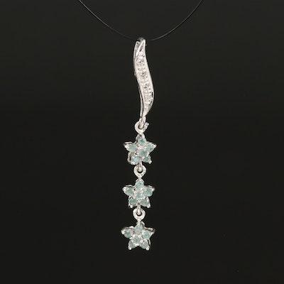 Sterling Alexandrite and Zircon Triple Star Pendant