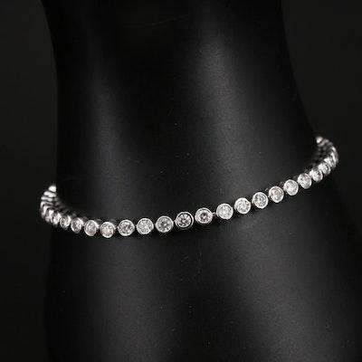 14K 3.00 CTW Bezel Set Diamond Line Bracelet