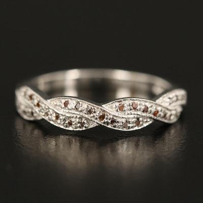 Sterling Diamond Braided Ring