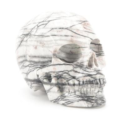 Carved Network Jasper Skull Figurine