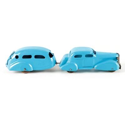 Blue Pressed Steel Toy Car Pulling Camper, Mid-20th Century
