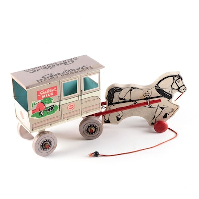 Rich Toys Sealtest Milk Tin Litho and Wood Horse-Drawn Truck, Early 20th Century