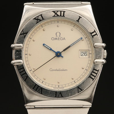 Omega Constellation with Date Stainless Steel Quartz Wristwatch