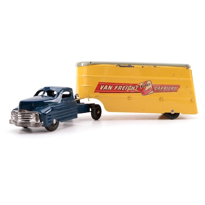 Buddy L Van Freight Carriers Pressed Steel Truck Toy, Mid-20th Century