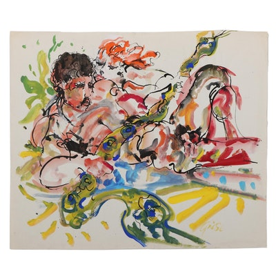 Hendrick Grise Figural Ink and Watercolor Painting of Male Nude