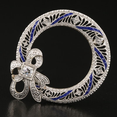 Art Deco Brod & Company 14K and Platinum Diamond and Enamel Filigree Brooch