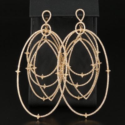 """Loree Rodkin """"Michelle"""" 18K 4.52 CTW Diamond Extra Large Drop Earrings"""