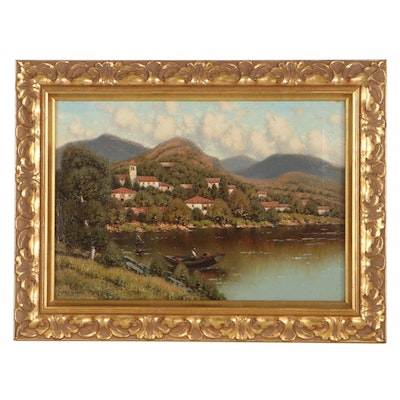 George W. Drew Oil Painting of Northern Italian Landscape