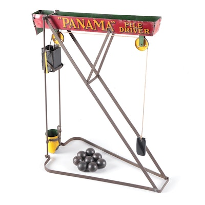 Wolverine Mfg. Co. Panama Pile Driver Tin Litho Gravity Toy, Early 20th Century