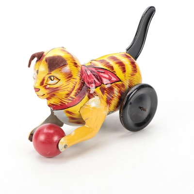 Marx Tin Lithograph Cat with Wooden Ball Toy